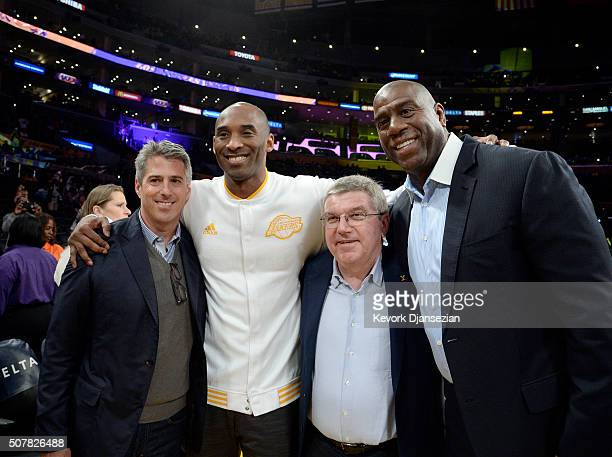 Sports agent Casey Wasserman Kobe Bryant of the Los Angeles Laker Thomas Bachpresident of the International Olympic Committee and Lakers legend and...