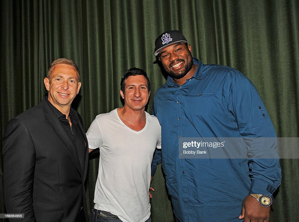 Sports agent Jerrold Colton, actor William DeMeo and New Orleans Saints player <a gi-track='captionPersonalityLinkClicked' href=/galleries/search?phrase=Jahri+Evans&family=editorial&specificpeople=980582 ng-click='$event.stopPropagation()'>Jahri Evans</a> attend the 'Once Upon A Time in Brooklyn' screening at Resorts Casino Hotel on May 11, 2013 in Atlantic City, New Jersey.