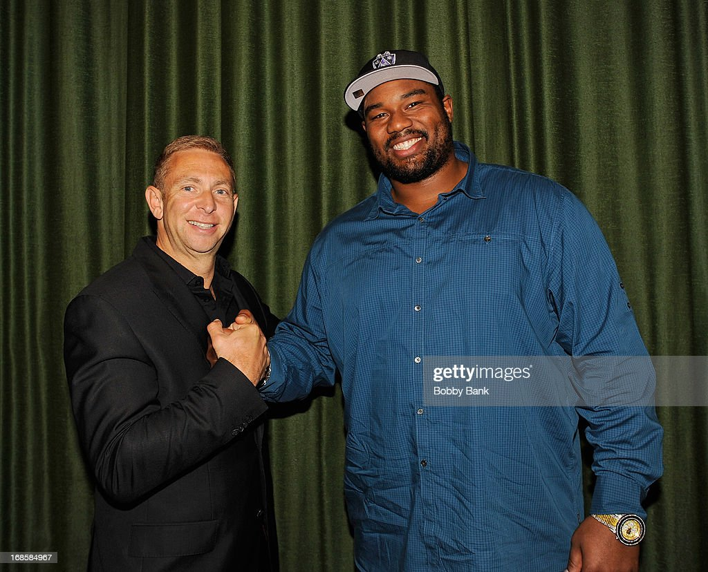 Sports agent Jerrold Colton and New Orleans Saints player <a gi-track='captionPersonalityLinkClicked' href=/galleries/search?phrase=Jahri+Evans&family=editorial&specificpeople=980582 ng-click='$event.stopPropagation()'>Jahri Evans</a> attend the 'Once Upon A Time in Brooklyn' screening at Resorts Casino Hotel on May 11, 2013 in Atlantic City, New Jersey.