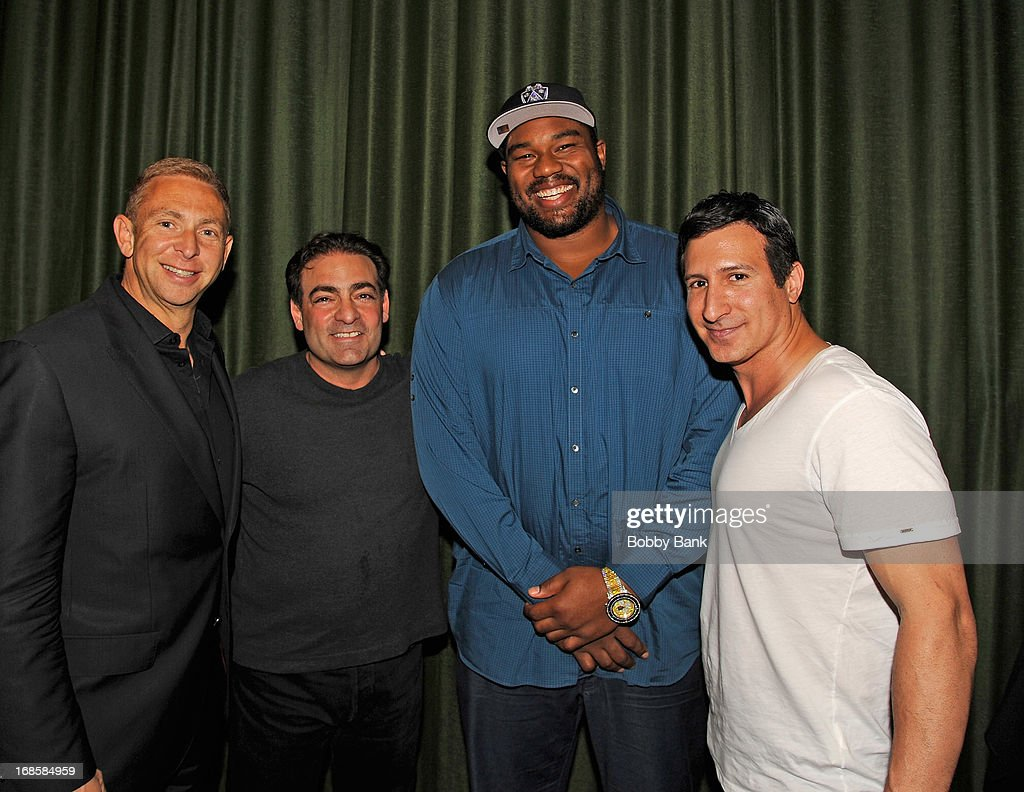 Sports agent Jerrold Colton, director Paul Borghese, actor William DeMeo and New Orleans Saints player <a gi-track='captionPersonalityLinkClicked' href=/galleries/search?phrase=Jahri+Evans&family=editorial&specificpeople=980582 ng-click='$event.stopPropagation()'>Jahri Evans</a> attend the 'Once Upon A Time in Brooklyn' screening at Resorts Casino Hotel on May 11, 2013 in Atlantic City, New Jersey.