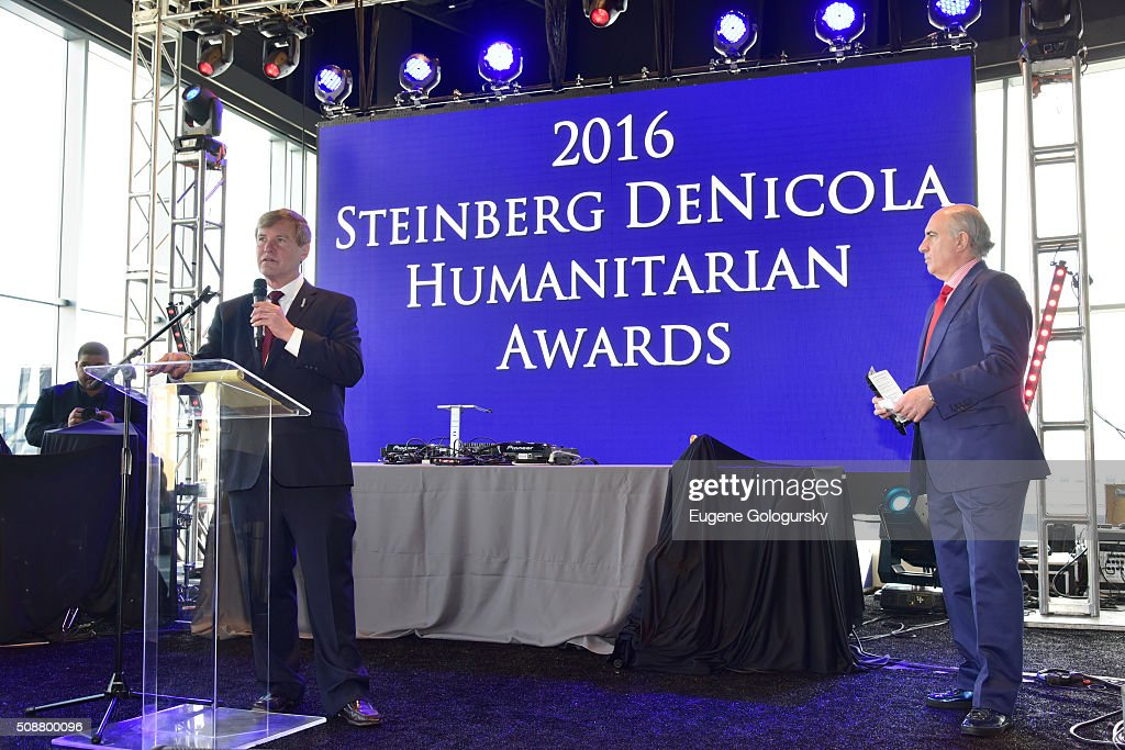 Sports agent <a gi-track='captionPersonalityLinkClicked' href=/galleries/search?phrase=Leigh+Steinberg&family=editorial&specificpeople=221448 ng-click='$event.stopPropagation()'>Leigh Steinberg</a> and entrepreneur Cosmo DeNicola onstage during the 29th Annual <a gi-track='captionPersonalityLinkClicked' href=/galleries/search?phrase=Leigh+Steinberg&family=editorial&specificpeople=221448 ng-click='$event.stopPropagation()'>Leigh Steinberg</a> Super Bowl Party on February 6, 2016 in San Francisco, California.