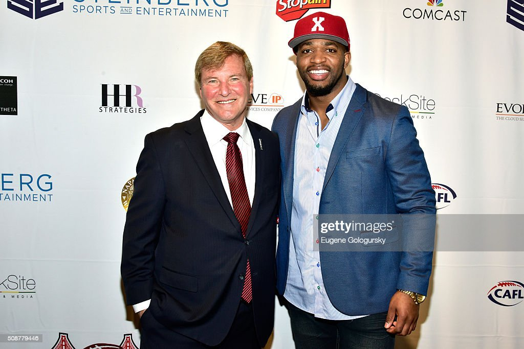 Sports agent <a gi-track='captionPersonalityLinkClicked' href=/galleries/search?phrase=Leigh+Steinberg&family=editorial&specificpeople=221448 ng-click='$event.stopPropagation()'>Leigh Steinberg</a> and professional football player Sam Barrington attend the 29th Annual <a gi-track='captionPersonalityLinkClicked' href=/galleries/search?phrase=Leigh+Steinberg&family=editorial&specificpeople=221448 ng-click='$event.stopPropagation()'>Leigh Steinberg</a> Super Bowl Party on February 6, 2016 in San Francisco, California.