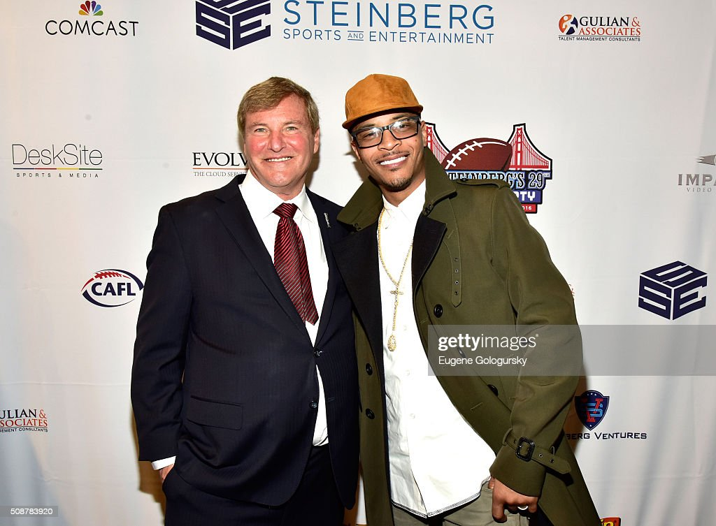 Sports agent <a gi-track='captionPersonalityLinkClicked' href=/galleries/search?phrase=Leigh+Steinberg&family=editorial&specificpeople=221448 ng-click='$event.stopPropagation()'>Leigh Steinberg</a> and rapper T.I. (aka Clifford Joseph Harris, Jr.) attend the 29th Annual <a gi-track='captionPersonalityLinkClicked' href=/galleries/search?phrase=Leigh+Steinberg&family=editorial&specificpeople=221448 ng-click='$event.stopPropagation()'>Leigh Steinberg</a> Super Bowl Party on February 6, 2016 in San Francisco, California.