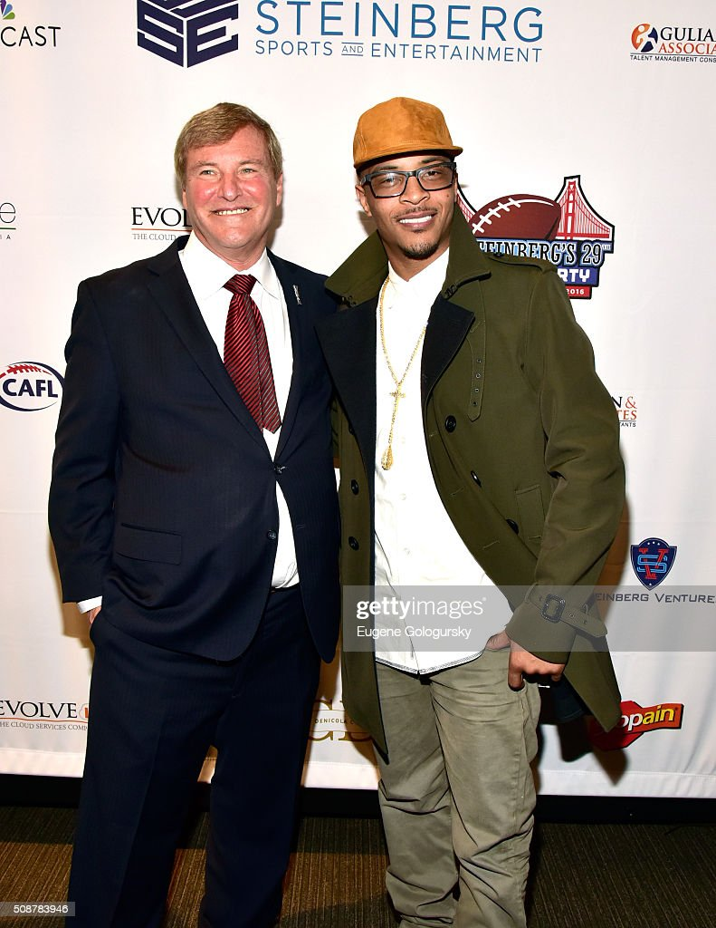 Sports agent <a gi-track='captionPersonalityLinkClicked' href=/galleries/search?phrase=Leigh+Steinberg&family=editorial&specificpeople=221448 ng-click='$event.stopPropagation()'>Leigh Steinberg</a> and rapper <a gi-track='captionPersonalityLinkClicked' href=/galleries/search?phrase=T.I.&family=editorial&specificpeople=221599 ng-click='$event.stopPropagation()'>T.I.</a> (aka Clifford Joseph Harris, Jr.) attend the 29th Annual <a gi-track='captionPersonalityLinkClicked' href=/galleries/search?phrase=Leigh+Steinberg&family=editorial&specificpeople=221448 ng-click='$event.stopPropagation()'>Leigh Steinberg</a> Super Bowl Party on February 6, 2016 in San Francisco, California.
