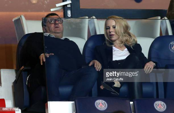 Sports agent Mino Raiola and Helena Seger wife of Zlatan Ibrahimovic attend the French League 1 match between Paris SaintGermain and Stade Malherbe...