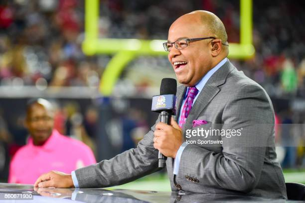 Sports analyst Mike Tirico on the air before the football game between the Kansas City Chiefs and Houston Texans on October 8 2017 at NRG Stadium in...