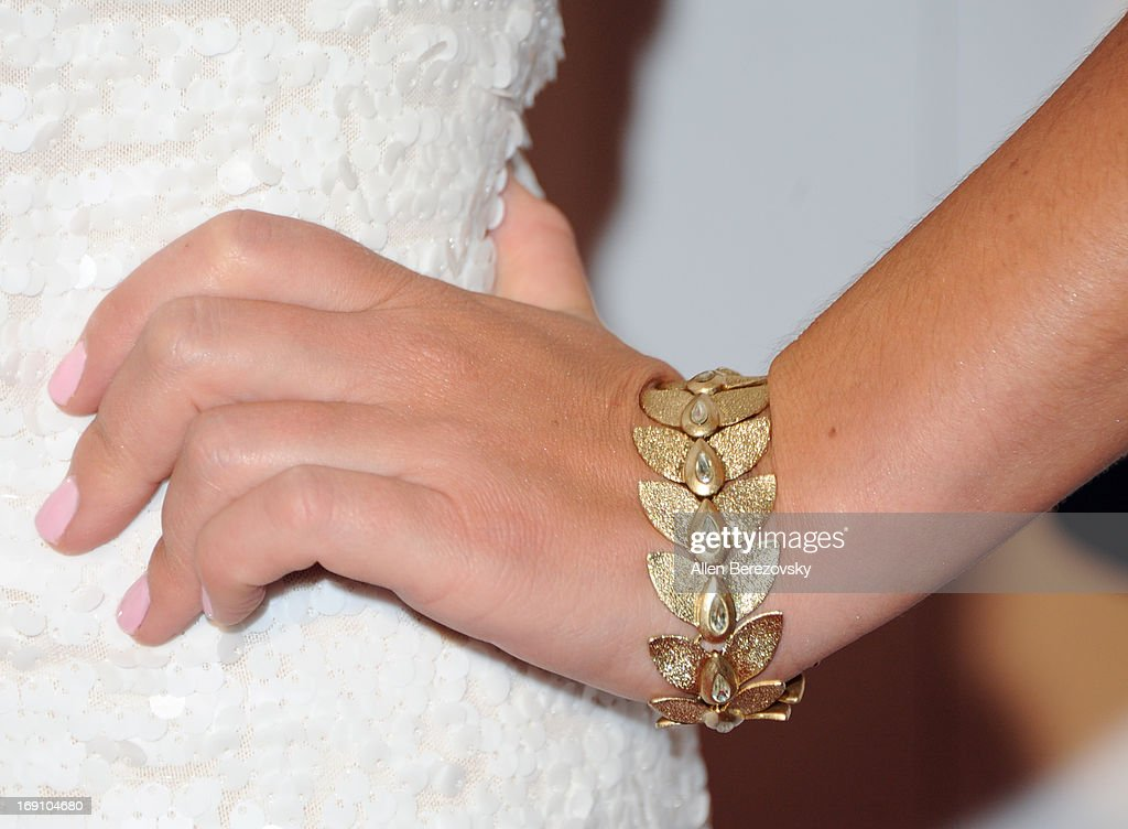 Sports anchor Jaime Maggio (bracelet detail) arrives at the Sports Spectacular 28th Anniversary Gala at the Hyatt Regency Century Plaza on May 19, 2013 in Century City, California.
