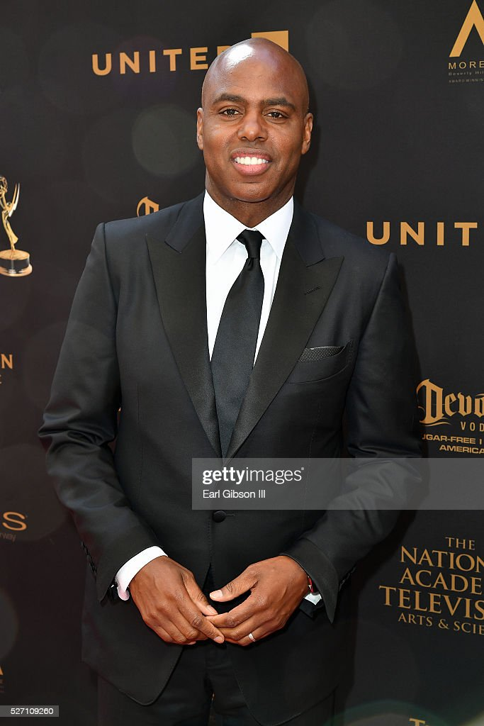 Sports anchor <a gi-track='captionPersonalityLinkClicked' href=/galleries/search?phrase=Kevin+Frazier&family=editorial&specificpeople=721972 ng-click='$event.stopPropagation()'>Kevin Frazier</a> walks the red carpet at the 43rd Annual Daytime Emmy Awards at the Westin Bonaventure Hotel on May 1, 2016 in Los Angeles, California.