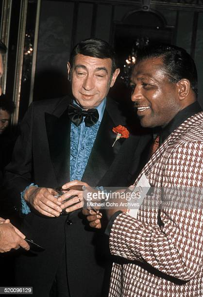 Sports announcer Howard Cosell talks with former boxer Sugar Ray Robinson circa 1977 in Los Angeles California