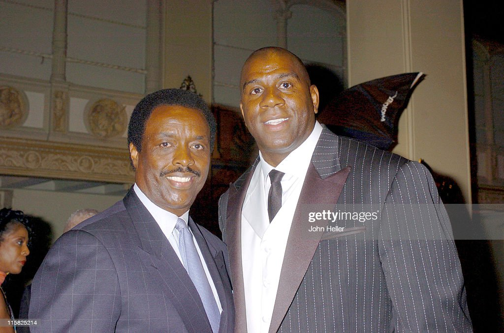 Sports Announcer Jim Hill and Earvin 'Magic' Johnson