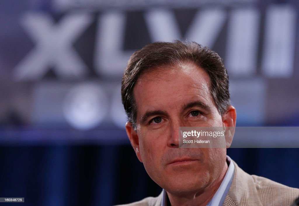 Sports announcer <a gi-track='captionPersonalityLinkClicked' href=/galleries/search?phrase=Jim+Nantz&family=editorial&specificpeople=700519 ng-click='$event.stopPropagation()'>Jim Nantz</a> speaks with the media at a Super Bowl XLVII Broadcasters Press Conference at the New Orleans Convention Center on January 29, 2013 in New Orleans, Louisiana.