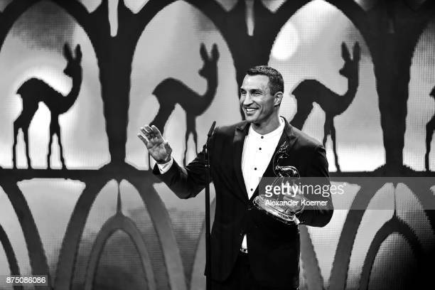 'Sports' award winner Wladimir Klitschko is seen on stage at the Bambi Awards 2017 show at Stage Theater on November 16 2017 in Berlin Germany