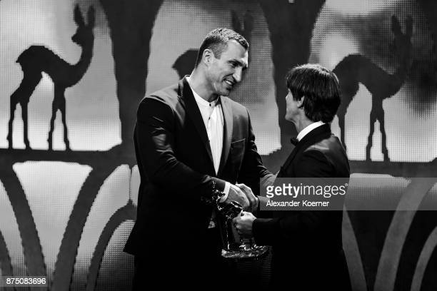 'Sports' Award Winner Wladimir Klitschko on stage with Joachim Loew during the Bambi Awards 2017 show at Stage Theater on November 16 2017 in Berlin...