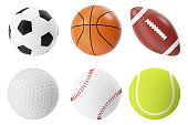 Sports balls 3d illustration set. Basketball, soccer, tennis, football baseball golf