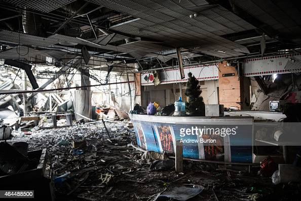 A sports bar sits amongst the wreckage of the destroyed Donetsk airport on February 26 2015 in Donetsk Ukraine The Donetsk airport has been one of...