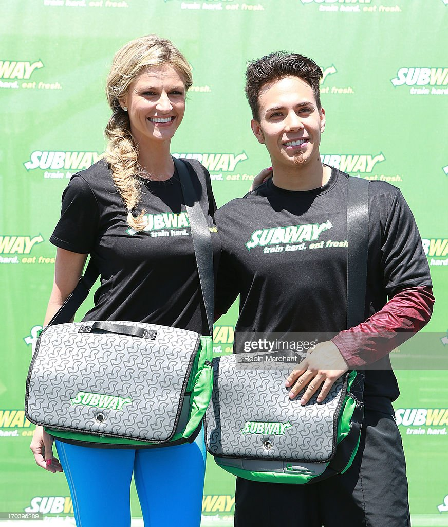 Sports broadcaster Erin Andrews and olympic speed skater Apolo Ohno attend the limited edition SUBWAY bag unveiling with Apolo Ohno at Clinton Cove...