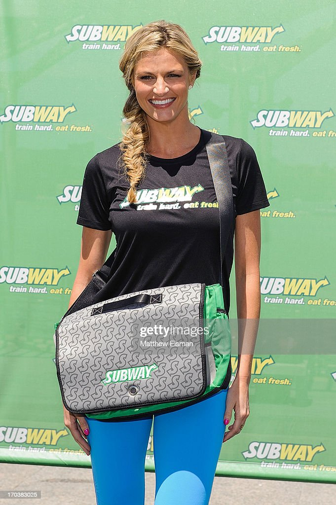Sports broadcaster <a gi-track='captionPersonalityLinkClicked' href=/galleries/search?phrase=Erin+Andrews&family=editorial&specificpeople=834273 ng-click='$event.stopPropagation()'>Erin Andrews</a> attends the Limited Edition SUBWAY Bag Unveling at Clinton Cove at Pier 96 on June 12, 2013 in New York City.