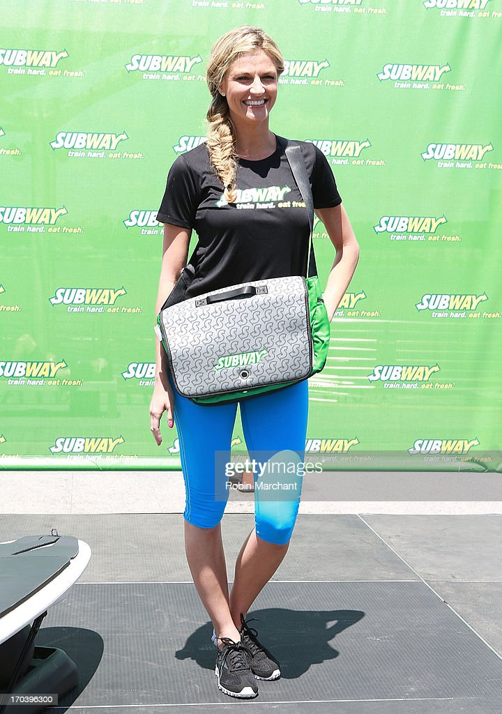 Sports broadcaster Erin Andrews attends the limited edition SUBWAY bag unveiling with Apolo Ohno at Clinton Cove At Pier 96 on June 12, 2013 in New York City.