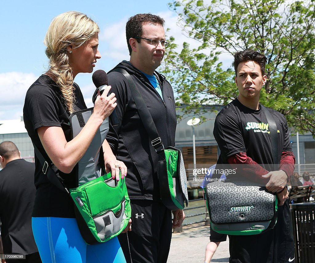 Sports broadcaster Erin Andrews, Subway spokesman Jared Fogle, Olympic speed skater Apolo Ohno attend the limited edition SUBWAY bag unveiling with Apolo Ohno at Clinton Cove At Pier 96 on June 12, 2013 in New York City.