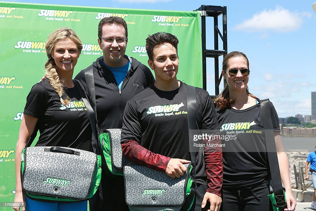 Sports broadcaster Erin Andrews, Subway spokesman Jared Fogle, Olympic speed skater Apolo Ohno and Dietician Lanette Kovachi attend the limited edition SUBWAY bag unveiling with Apolo Ohno at Clinton Cove At Pier 96 on June 12, 2013 in New York City.