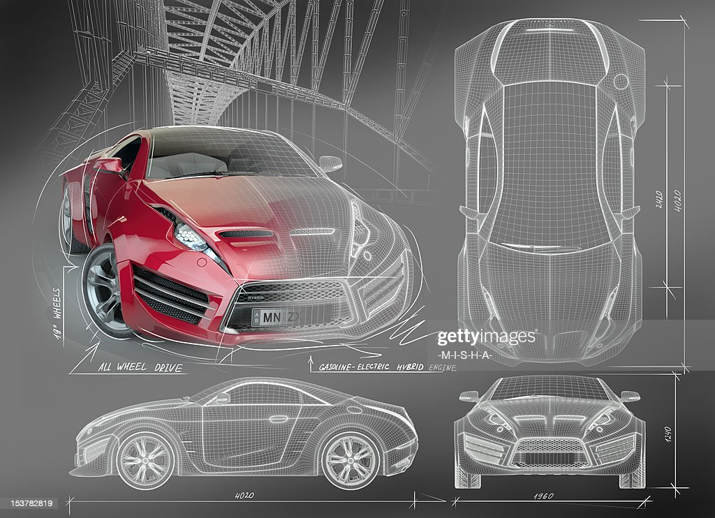 Marvelous Sports Car Blueprints : Stock Photo