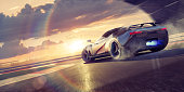 A stylized image of a fictional sports car drifting round bend with smoke coming from tyres as the supercar wheelspins around the corner of a racetrack. The sports car also has blue flames coming from