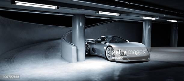 Sports Car in Underground Carpark