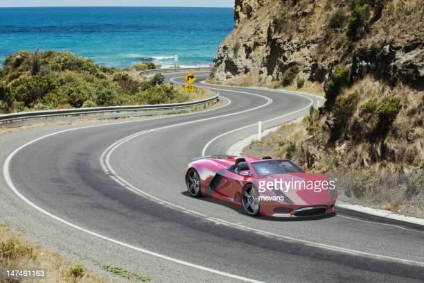 Sports Car on a Coastal Road.