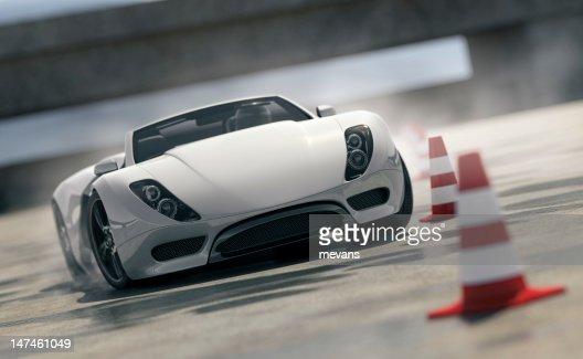 Sports Car on Test Track