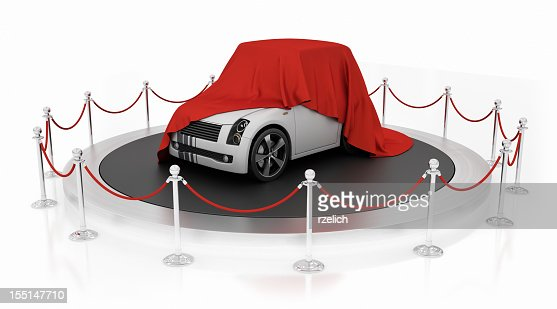 Sports car unveiling on the podium : Stock Photo