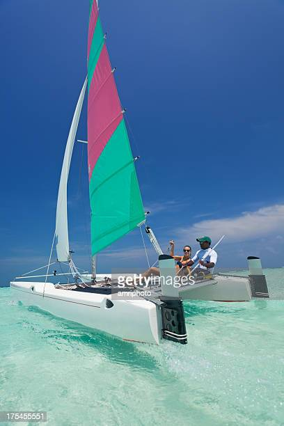sports catamaran in wind