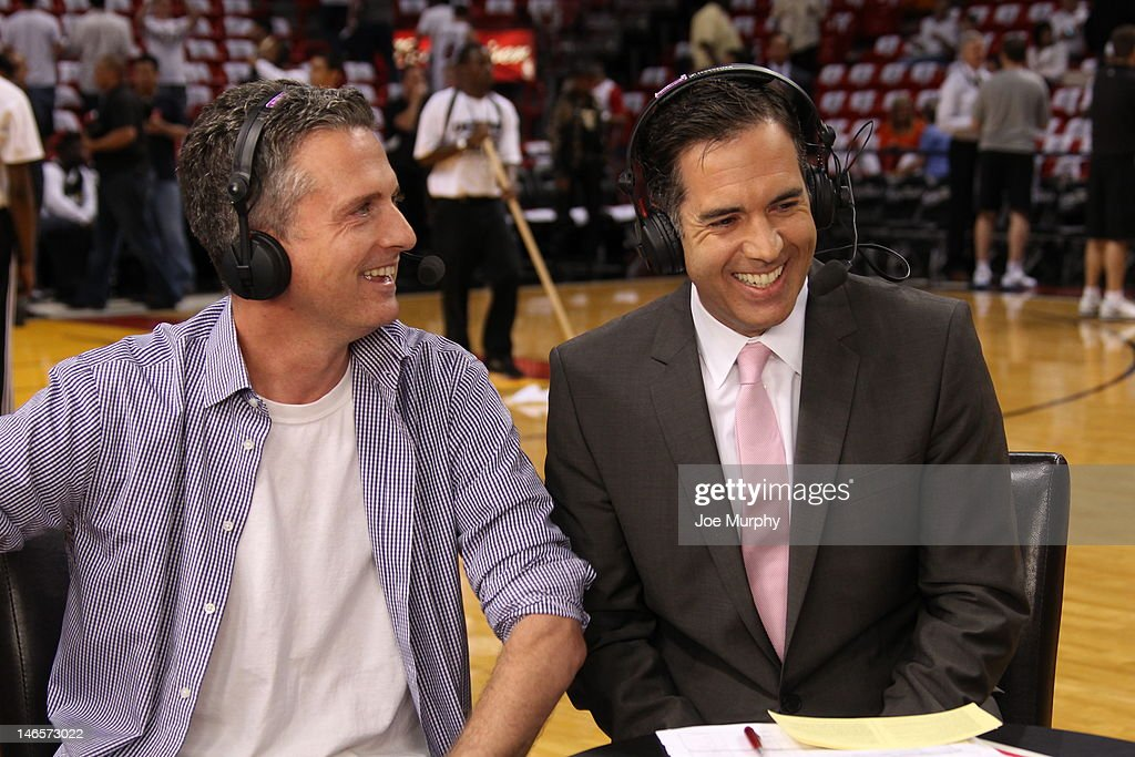 Sports columnist <a gi-track='captionPersonalityLinkClicked' href=/galleries/search?phrase=Bill+Simmons+-+Journalist&family=editorial&specificpeople=13605496 ng-click='$event.stopPropagation()'>Bill Simmons</a> and NBATV show host <a gi-track='captionPersonalityLinkClicked' href=/galleries/search?phrase=Matt+Winer&family=editorial&specificpeople=7033466 ng-click='$event.stopPropagation()'>Matt Winer</a> share a laugh after the game between the Oklahoma City Thunder and the Miami Heat during Game Four of the 2012 NBA Finals at American Airlines Arena on June 19, 2012 in Miami, Florida.