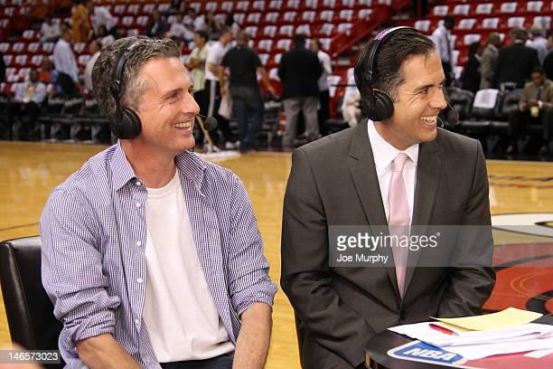 Sports columnist Bill Simmons and NBATV show host Matt Winer share a laugh after the game between the Oklahoma City Thunder and the Miami Heat during...