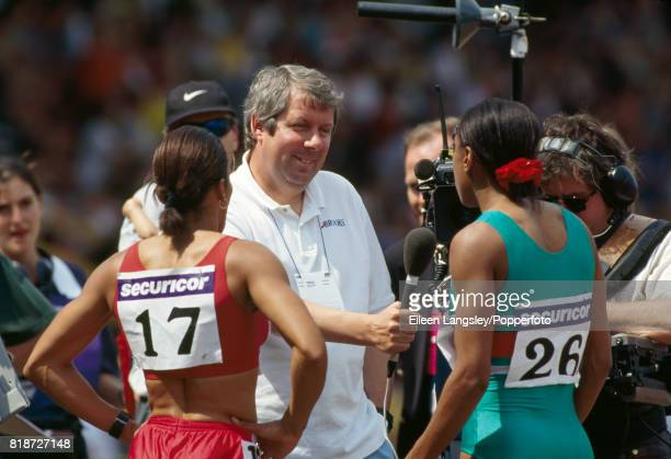 Sports commentator Brendan Foster interviewing Kelly Holmes and Diane Modahl of Great Britain after they finished first and second respectively in...
