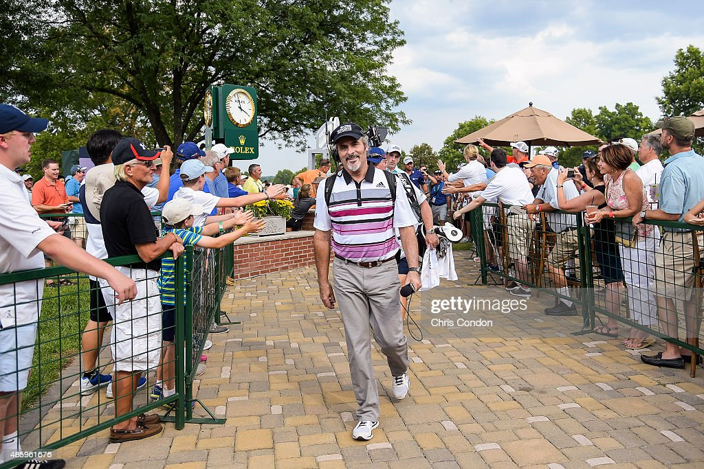 Sports commentator David Feherty walks to the 10th hole tee box during the final round of The Barclays at Plainfield Country Club on August 30 2015...