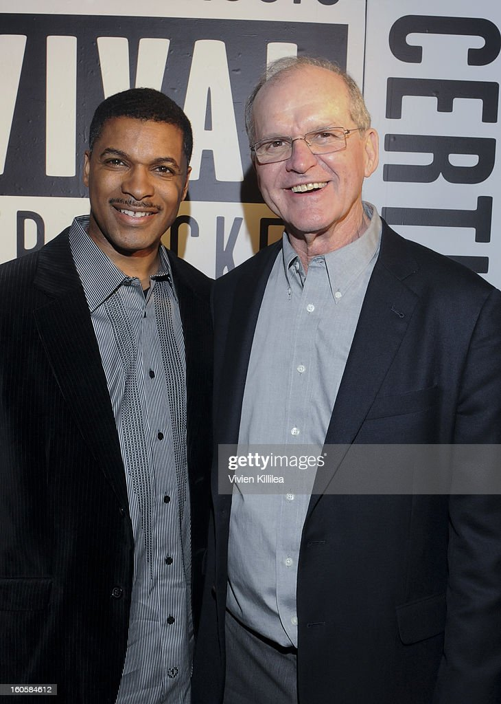 Sports commentator Victor Kelly and Jack Harbaugh attend Starter Parlor - Super Bowl XLVII on February 2, 2013 in New Orleans, Louisiana.