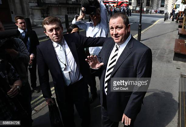 Sports Direct International founder Mike Ashley leaves the Red Lion pub in Westminster to attend a select committee hearing at Portcullis house on...