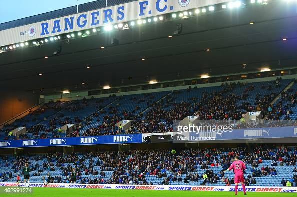 Sports Direct signage on show at Ibrox stadium during the William Hill Scottish Cup Fifth Round match between Rangers and Raith Rovers on February 8...