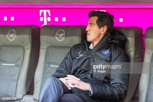 Sports Director Jens Todt of Hamburg looks on during the Bundesliga match between Bayern Muenchen and Hamburger SV at Allianz Arena on February 25...