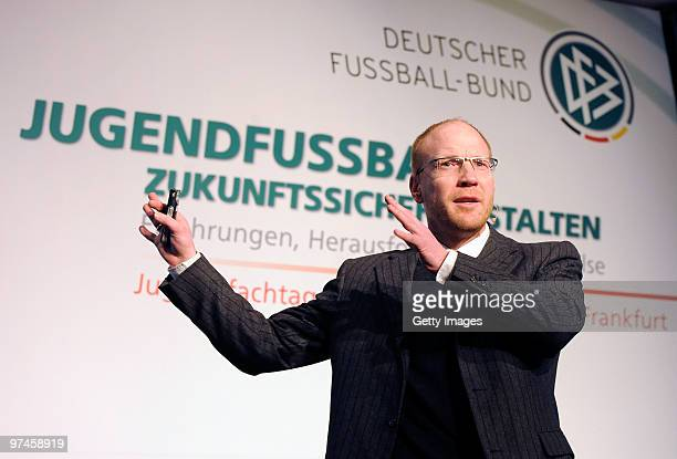 Sports director Matthias Sammer of German football association attend the DFB Youth Expert conference on March 5 2010 in Frankfurt am Main Germany