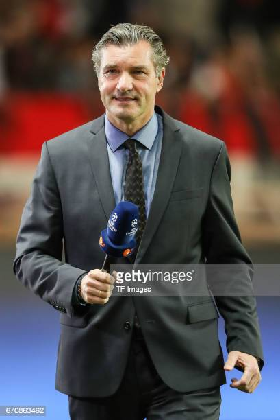 Sports director Michael Zorc of Dortmund looks on prior the UEFA Champions League quarter final second leg match between AS Monaco and Borussia...