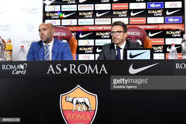 Sports director of AS Roma Ramon Rodriguez Verdejo Monchi and AS Roma's new head coach Eusebio Di Francesco attend a press conference at Fulvio...