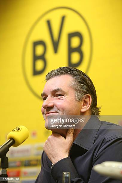 Sports director of Borussia Dortmund Michael Zorc attends a news conference at Signal Iduna Park on June 3 2015 in Dortmund Germany