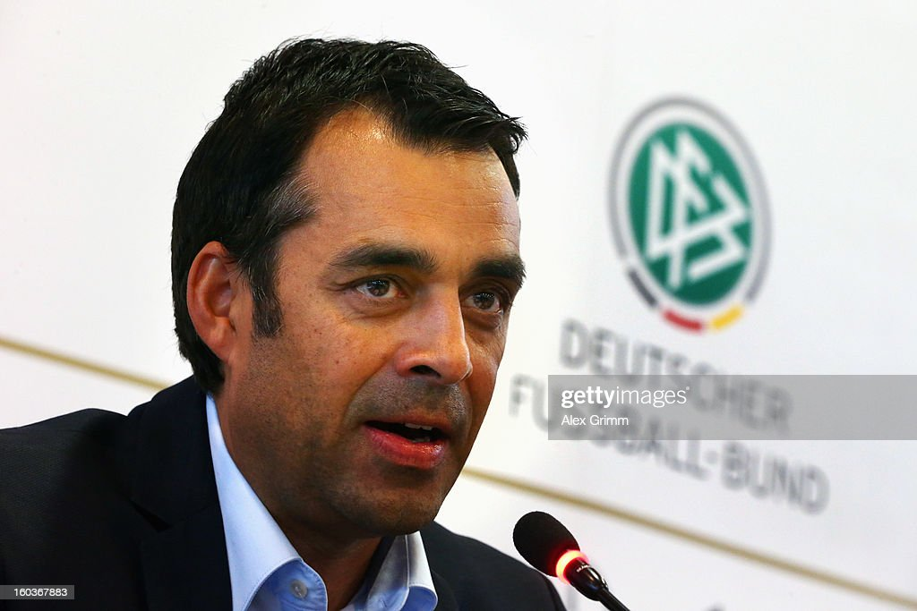 DFB sports director Robin Dutt talks to the media during a press conference at the DFB headquarters on January 30 2013 in Frankfurt am Main Germany