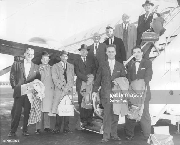 Sports Editors Return From Olympic Scene Harry Farrar In group are left to right Pat Harmon Cincinnati Post and Times star Robert Molyneux Pittsburgh...