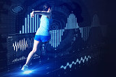 sports engineering concept. running woman and various vital information.