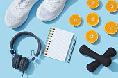 Sport, Exercising, Equipment, note pad, flat lay, backgrounds, new year resolution, fruit