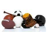 basketball, football, volleyball, water polo, baseball, wood bat, helmet Sports equipment isolated on white