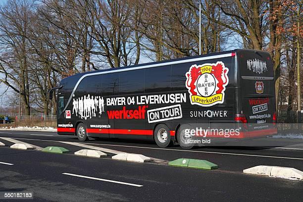 sports football Bundesliga 2012/2013 Borussia Moenchengladbach versus Bayer 04 Leverkusen 33 Stadium Borussia Park in Moenchengladbach team bus of...