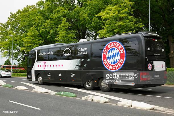 sports football Bundesliga 2012/2013 Borussia Moenchengladbach versus FC Bayern Munich 34 Stadium Borussia Park in Moenchengladbach team bus of Munich